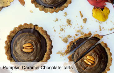 VegNews.PumpkinCaramelChocolateTarts 2